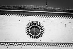 Rose window - Circular window in the church Royalty Free Stock Photography