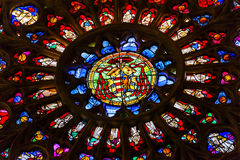 Rose Window Coat Arms Stained Glass Cathedral Toledo Spain Stock Photography