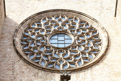 Rose window on facade of church Santa Maria del Mar, Barcelona,Spain Stock Photography