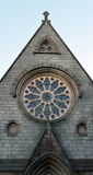 Rose window in Gilcomston South Church, Aberdeen, Scotland. Rose/wheel window on Aberdeen church, built 1868 royalty free stock images