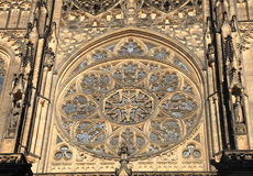 Rose window in historical St Vitus Cathedral, Prague Stock Photo