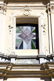 Rose window  italy  lombardy     in  the somma lombardo old Stock Image