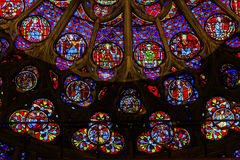 Rose Window Jesus Stained Glass Notre Dame Cathedral Paris France royalty-vrije stock afbeeldingen