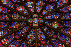 Rose Window Jesus Stained Glass Notre Dame Paris France Arkivbild