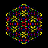 Rose window leadlight impression. Generated by patterns in the colors yellow, orange, red, green and purple. Rosette window, also Catherine or wheel window Royalty Free Stock Photos