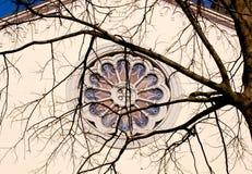 Rose window of Marian Shrine on. The Barbana - Grado, Italy stock photos