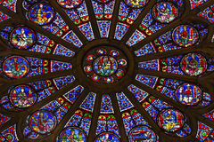 Rose Window Mary Jesus Stained Glass Notre Dame Paris France Royaltyfria Foton