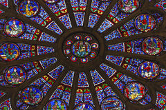 Rose Window Mary Jesus Stained Glass Notre Dame Paris France Royaltyfri Foto