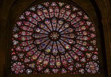 Rose Window Mary Jesus Stained Glass Notre Dame Paris France Royalty Free Stock Images