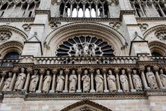 The rose window of Notre-Dame de Paris stock images