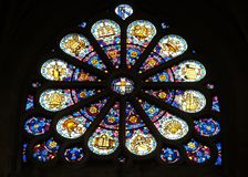 Rose window in the Saint Etienne du Mont Church, Paris stock image