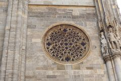 Rose Window at Saint Stephen`s Cathedral Stephansdom in Vienna Austria Royalty Free Stock Photo
