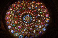 Rose Window Saints Stained Glass domkyrka Toledo Spain Royaltyfri Foto