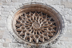 The Rose Window of Santo Agostinho da Graca church is the largest carved of a single stone slab in Portugal Stock Images