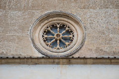 Rose window in Scanno royalty free stock photo
