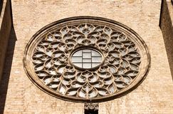 Rose window of St Mary of the Sea cathedral in Barcelona. Stock Photo