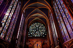 Rose Window Stained Glass Cathedral Sainte Chapelle Paris France Imagem de Stock Royalty Free