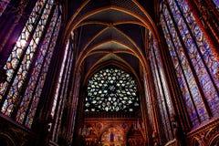Rose Window Stained Glass Cathedral Sainte Chapelle Paris France lizenzfreies stockbild