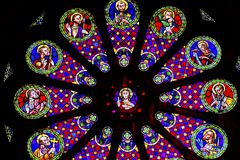 Stained Glass Jesus Disciples The Se Cathedral Lisbon Portugal. Rose Window Stained Glass Jesus Disciples Basilica The Se Sedes Episcopalis Cathedral Lisbon Royalty Free Stock Image
