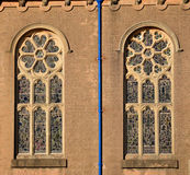 Rose windows of church stock photos