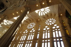 Rose windows and reflection of daisies, Sagrada Família Royalty Free Stock Photography