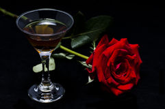 Rose and wine Royalty Free Stock Photo