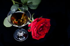 Rose and wine Royalty Free Stock Photos