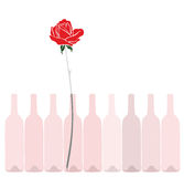 Rose and wine. Abstract illustration of wine bottles with rose Royalty Free Stock Photography
