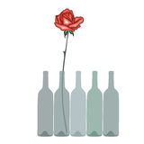 Rose and wine. Abstract illustration of wine bottles with rose Stock Photography