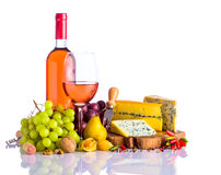 Rose Wine and Blue Cheese Stock Image