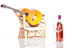 Rose wine bottle and glass Royalty Free Stock Photo