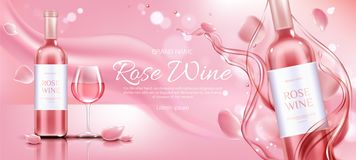 Rose wine bottle and glass mockup promo banner royalty free stock photo