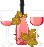 Rose wine bottle with two filled glasses. Rose wine bottle with no label and two filled glasses decorated with vine isolated vector illustration Stock Photo