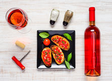 Rose Wine with Bruschetta in Top View royalty free stock photography