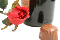 Rose, wine & chocolate. Shot of a rose, wine & chocolate Stock Photography
