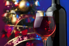 Rose wine and Christmas tree Stock Photo
