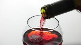 Rose Wine De rode wijn giet in wijnglas over witte achtergrond Langzame Motie stock videobeelden