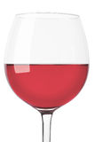 Rose wine glass close up on white Stock Photos