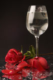 Rose and wine glass of water Royalty Free Stock Photography