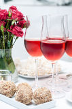Rose wine in glasses, home party Stock Image