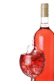 Rose wine on ice Royalty Free Stock Image