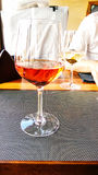 Rose wine at the restaurant Stock Photo