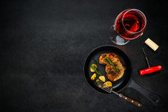 Rose Wine with Steak Meat on Copy Space Royalty Free Stock Images