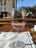 Rose wine in the sunshine stock photography