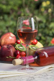 Rose wine and wine bottle. Stock Image