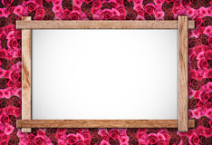 Rose and wood frame Royalty Free Stock Photo