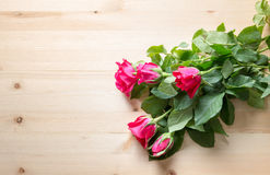 Rose on wood for sell on valentine Royalty Free Stock Photos