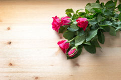 Rose on wood for sell on valentine Stock Photography