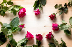 Rose on wood for sell on valentine Royalty Free Stock Image