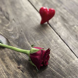 Rose on a wooden table Stock Photography